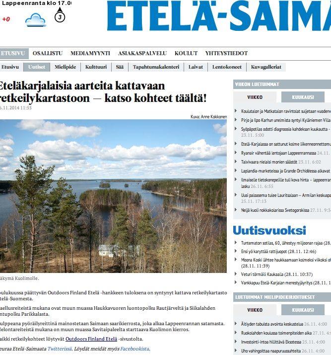 Valtakunnallisesta Outdoors Finland -hankkeesta alueellisesti. Yhteistyössä Pienen Ideapuodin kanssa.