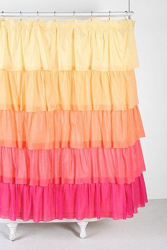 Ombre Ruffle Shower Curtain   Urban Outfitters  One Of Three Choices For  The Girls Bathroom