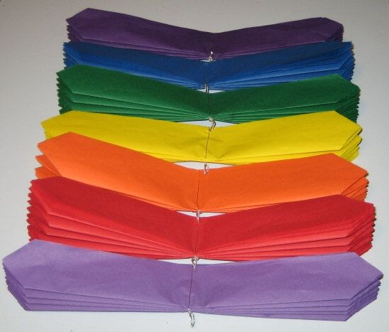 How to make tissue poms: layer 8 sheets of tissue paper, fold in accordion style, tie floral wire around, cut edges and then separate.