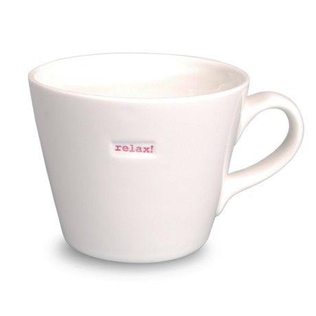Keith Brymer Jones Word Range 'relax!' Bucket Mug, 0.35L - White