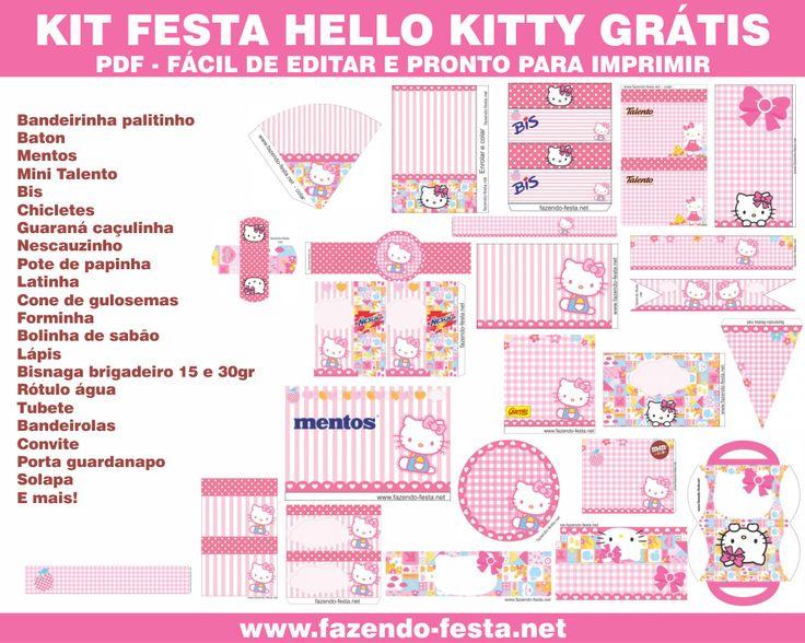 Lindo Kit Festa Hello Kitty grátis para editar e imprimir