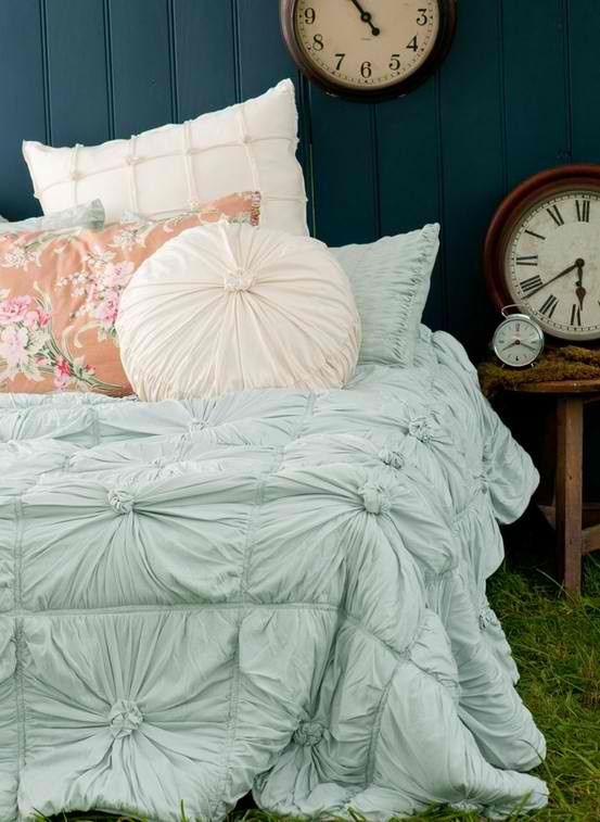 Pale aqua bedding with white and blush pillows #anthropologie #bedding