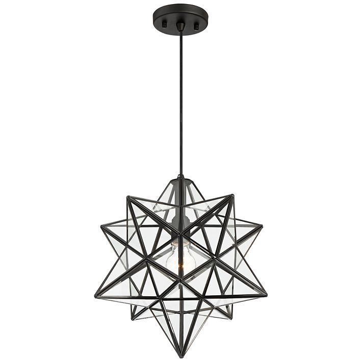 Cuthbert 15 W Black And Clear Glass Star Pendant Light 35f84 Lamps Plus Star Pendant Lighting Pendant Light Glass Stars