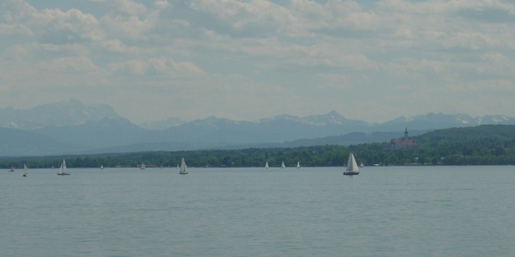 The Ammersee Lake south of Munich is a beautiful place. The Alps in the background.