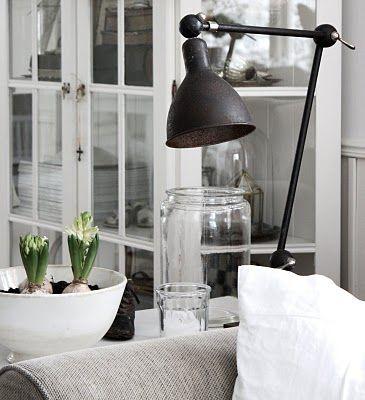lamp, large jar, flower bulbs in bowl