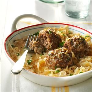 "German Meatballs Recipe- Recipes  ""THIS WAS one of our favorite main dishes. Since we raised our own pork and beef, the meat we used was always freshly ground. For variety, these meatballs can be cooked with a sweet cream gravy or steamed with tomatoes—but we prefer them with homemade sauerkraut."""