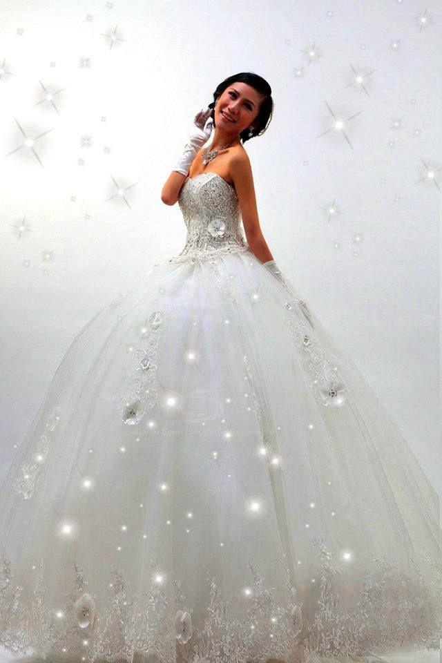 Hochzeitskleid Prinzessin Brautkleid Glitzer