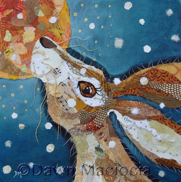 Hare Collage Torn Painted Paper Collage www.dawnmaciocia.com https://www.facebook.com/collagecreations