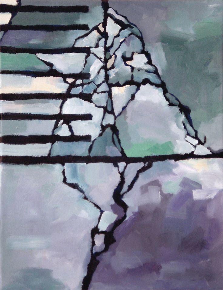 "Urban Bird, Tyrone Rogers, 2016, oil on canvas, 14"" x 18""    Blue bird painting abstract geometric painter"