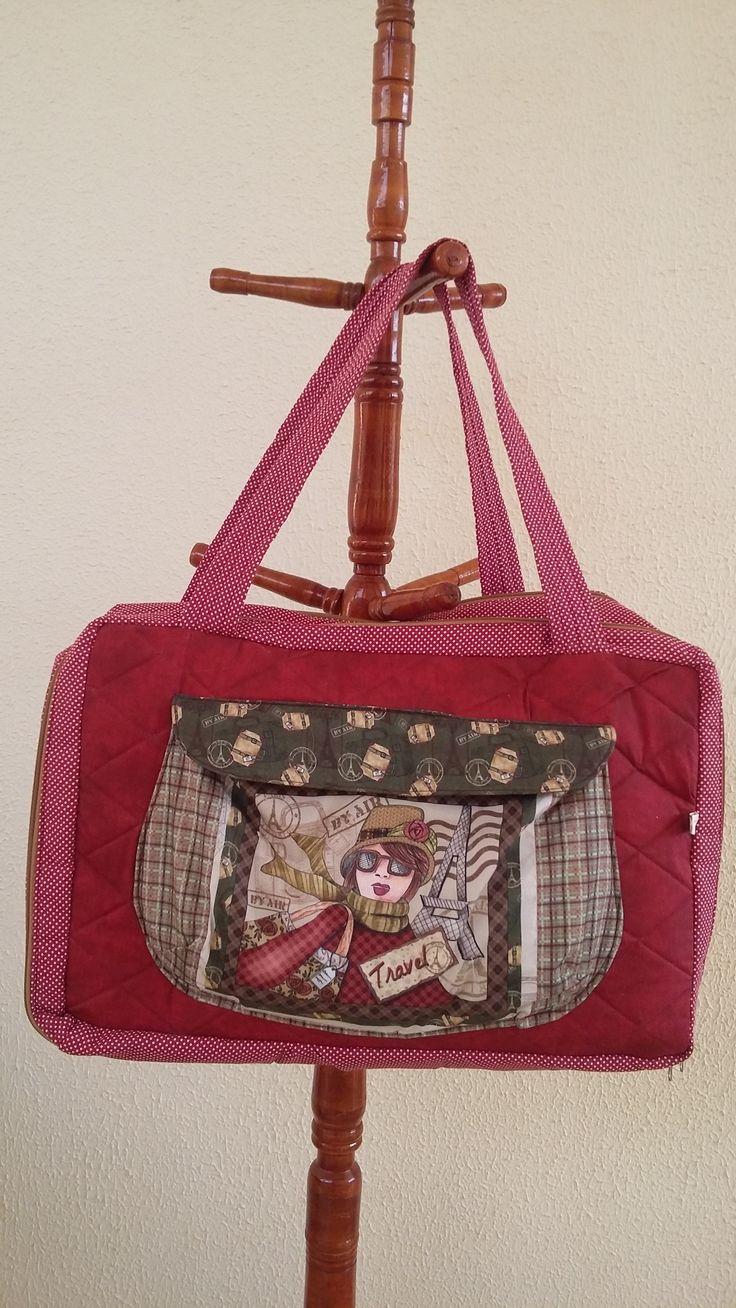 Camélia Atelie: Mala de viagem dupla, travel bag, mala de tecido, mala de patchwork. Tecido da coleção Viagem da Fuxicos e Fricotees.