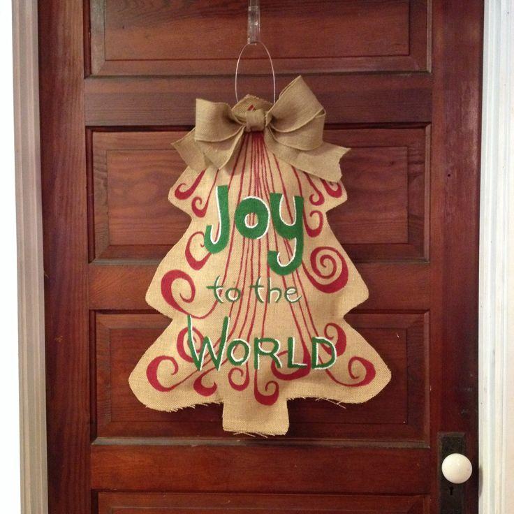 Christmas burlap door hanger