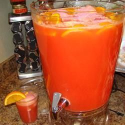 1 (2 liter) bottle fruit punch, chilled 1 (64 oz) orange juice, chilled 1 (2 liter) bottle ginger ale Mix fruit punch and orange juice together. Slowly pour ginger ale down the side to retain carbonation. **To make ADULT only drink, add Malibu** Yum