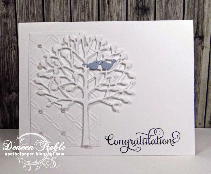 Memory Box Arboscello Tree & Sitting Birds Die, white on white, wedding