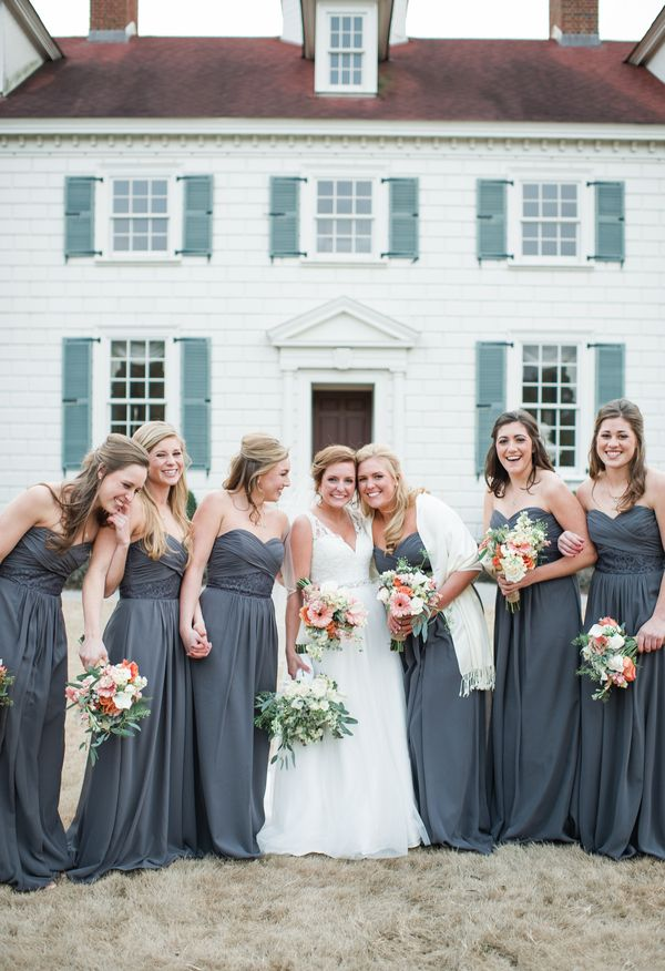 Charcoal grey bridesmaid dresses, white shawls, wintertime bridal party // Sweet Julep Photography LLP