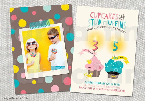 Miss Cupcake & Mr Mustache Muffin Sparklers Kids Any Age Birthday Party Invitation | Custom Whimsical Cute Girl Boy Children Invite available as PRINTED