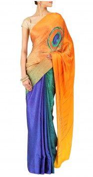 Satya Paul peacock printed sari