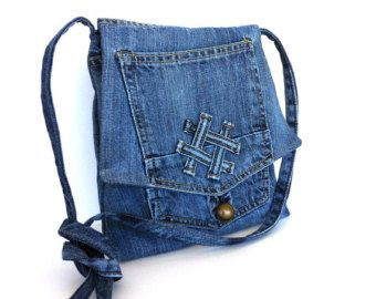 Denim cross body bag Small recycled jean messenger bag by Sisoi