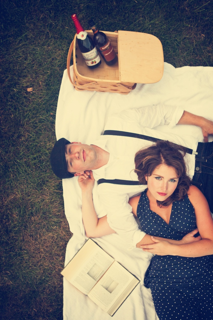 vintage picnic & movie setting out under the sky