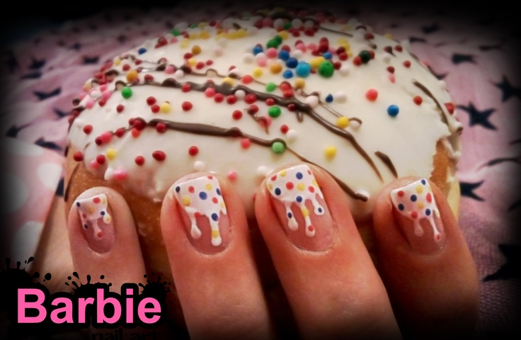 Donut Nails - Nothing like a donut, fine white frosting dripping on crispy fried dough loop.