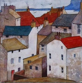 traditional whitewashed fishermen's homes in a watercolour painting of the pretty seaside village STAITHES in North Yorkshire England