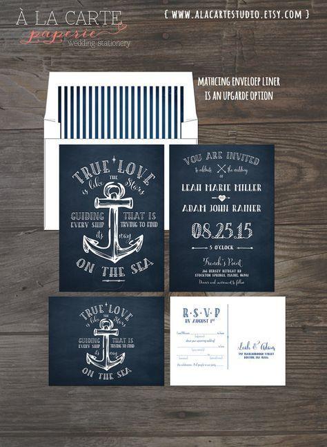 True Love Nautical Anchor Wedding Invitation von alacartepaperie