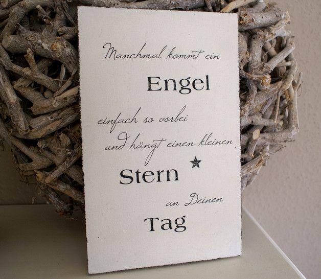 """Schild Holz """"Manchmal kommt ein Engel ..."""" Shabby Wenn man einem lieben Menschen als Dankeschön ein außergewöhnliches Geschenk überreichen möchte, ist dieses Schild genau das richtige. Mit..."""