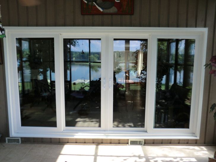 Inspiring Wooden Patio Doors Ideas. White Stained Wooden Frame 4 Glass  Sliding Patio