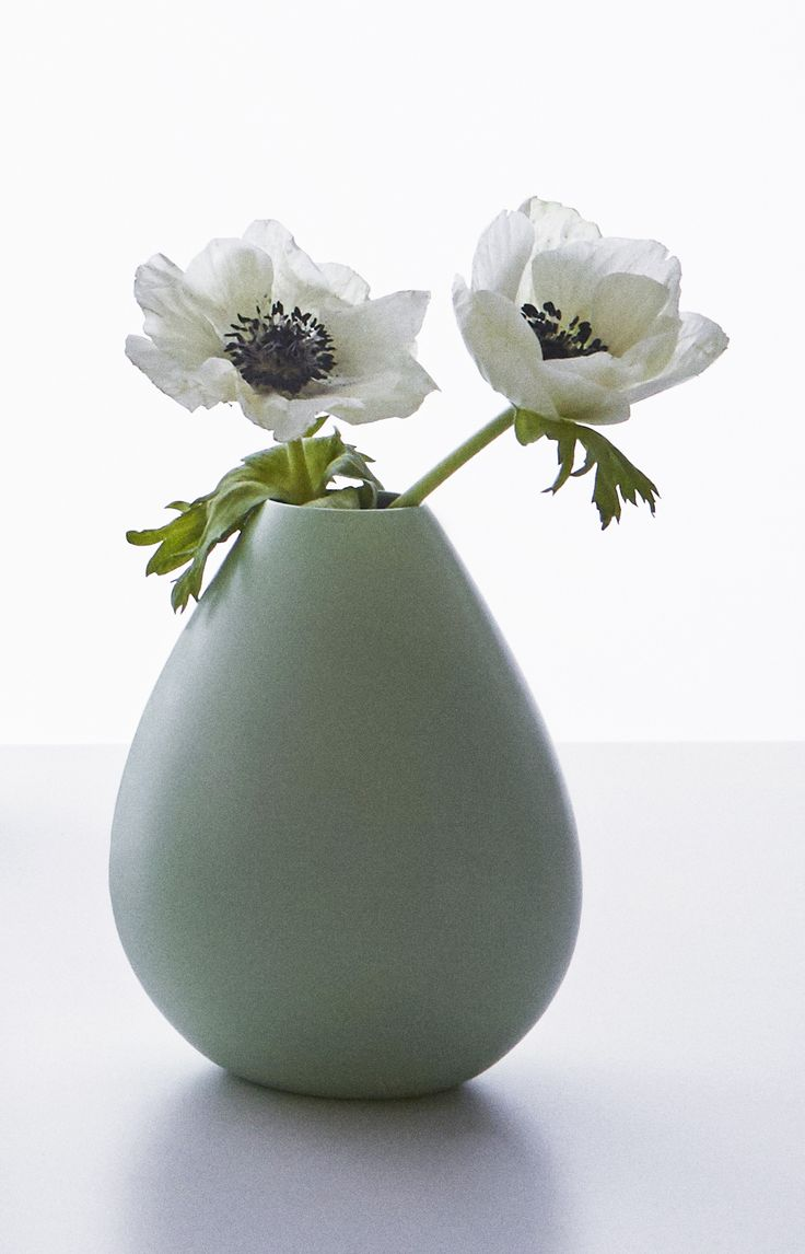 Close up of our AJ Royal Vinage vase in green.  Perfect spring flower vase! Made in Denmark.