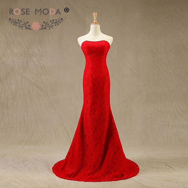 100% Real Sample High Quality Sexy Red Ivory Floor Length Sleeveless Mermaid Lace Evening Dresses Prom Dresses #Affiliate