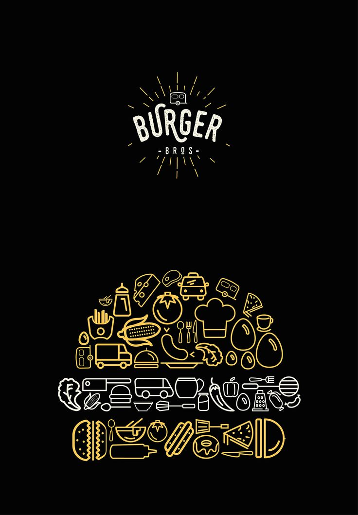 * tipografia, la imagen de la hamburguesa compuesta por diferentes cosas, la marca