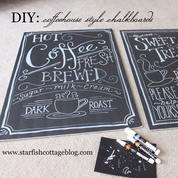 $10 DIY Coffee House Chalkboards made from dollar store black Foamboard and white paint pens www.starfishcottageblog.com