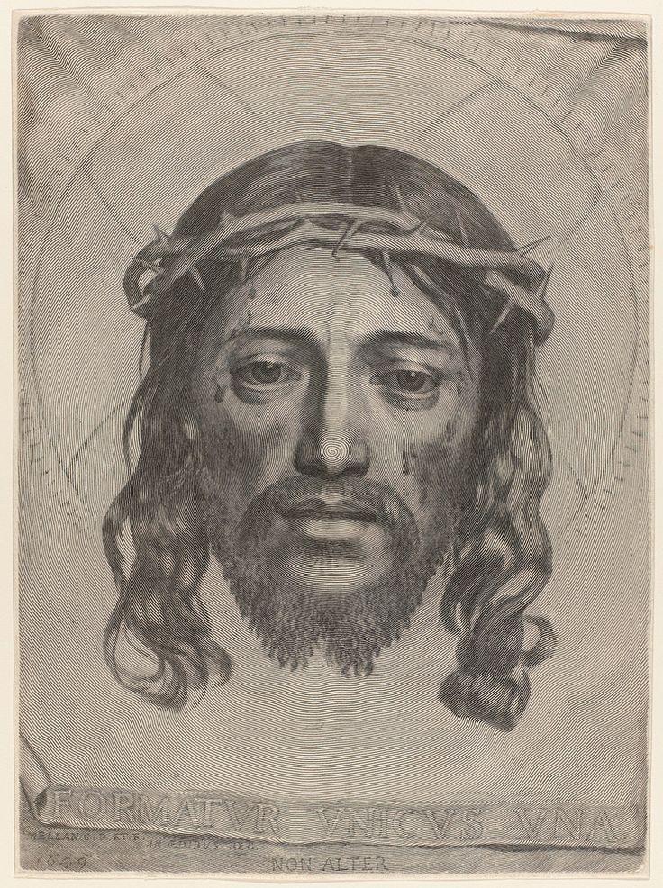 Claude Mellan. 1696. Плат Святой Вероники. лицо Иисуса изображено одной спиральной линией, которая идет концентрическими кругами от кончика носа до краёв изображения. А само лицо как бы проявляется  на гравюре за счёт различной толщины этой линии.