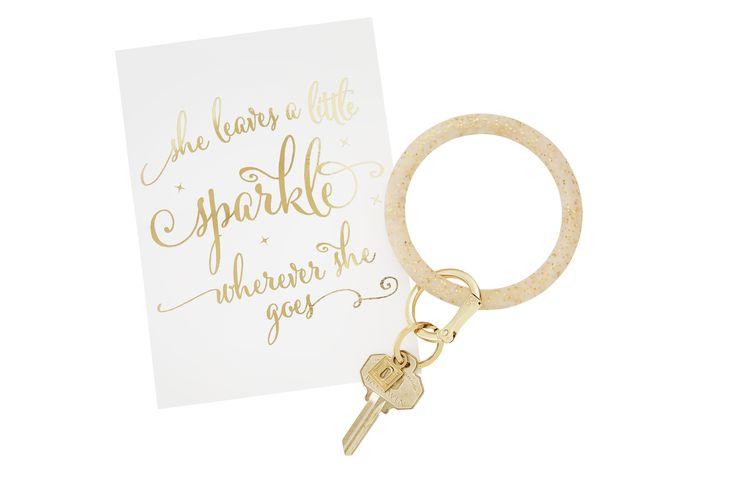 O-Venture's Gold Confetti Big O Key Ring! Every wOman lOves sparkly things, and this gold glitter key ring is all-time favOrite!! Grab your gifts for HER at o-venture.com