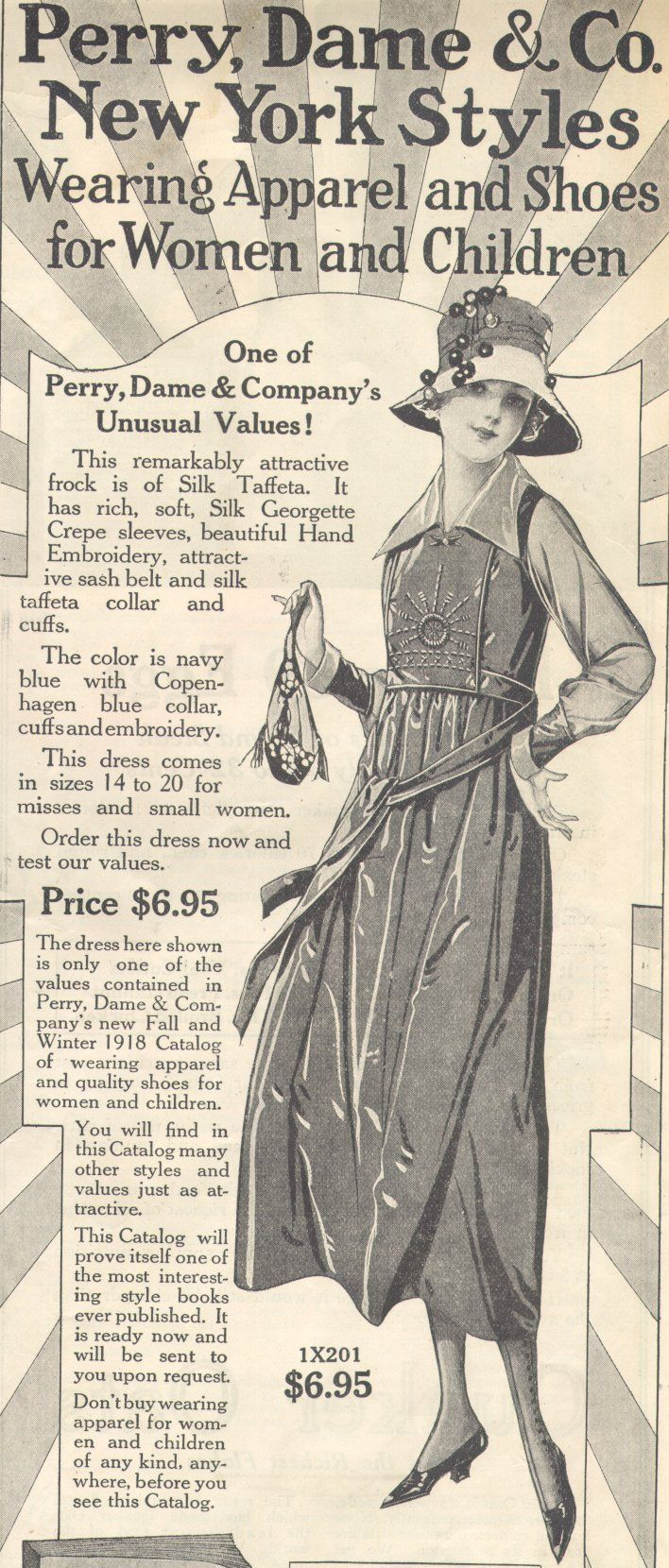 Fashion 1910 to 1920 - 1918 Perry Dame Dress