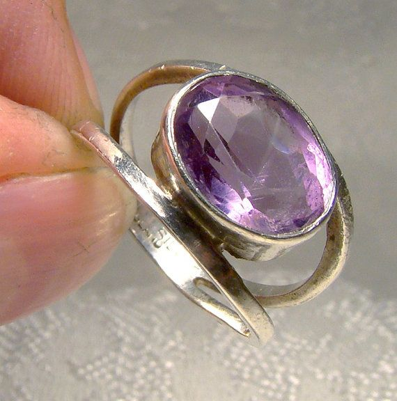 Mod Sterling Silver Amethyst Ring 1970s Size by FionaKennyAntiques