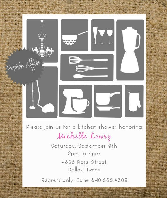 bridal shower kitchen house invitation gray and accent color can be customized choose your own wording going to the chapel pinterest bridal shower