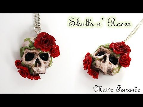 Polymer Clay Gothic Skulls n' Roses Pendant Tutorial | Maive Ferrando - YouTube
