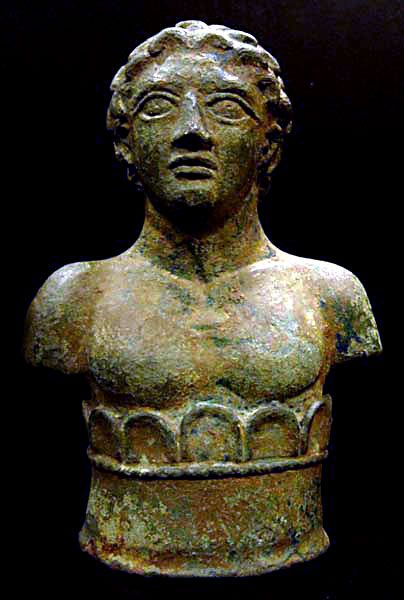 Roman Bronze Decorative Bust of a Young Man - PF.5479 Origin: Mediterranean Circa: 1 st Century AD to 2 nd Century AD