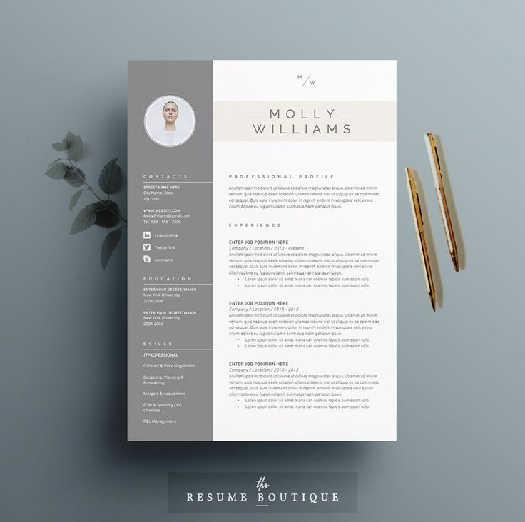 Resume Template 4 page CV Template Cover by TheResumeBoutique
