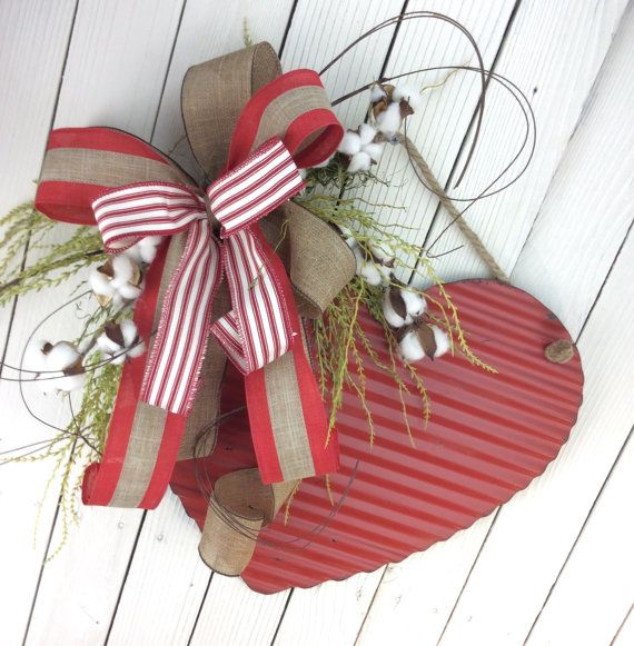 Valentine Cotton Wreath,Rustic Heart Door Swag, Valentine Door Hanger,Valentine…