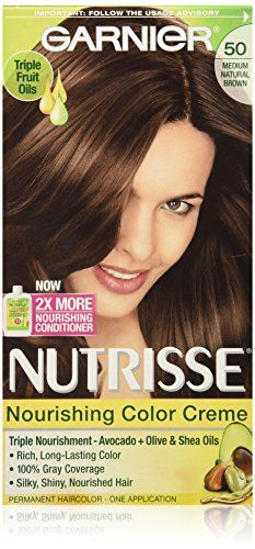Garnier Nutrisse Nourishing Color Creme, 50 Medium Natural Brown ** Check this awesome image @ http://www.amazon.com/gp/product/B000GCSY64/?tag=passion4fashion003e-20&ij=280716003352
