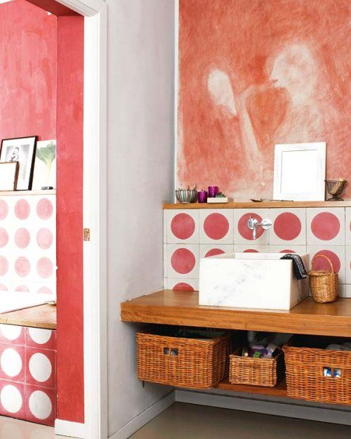 !: Houses Beautiful, Polka Dots, Materials, Imagination Slip, Marching 30, Dots Bathroom, Blue Chairs, Potty Marching, Lifestyle Advice
