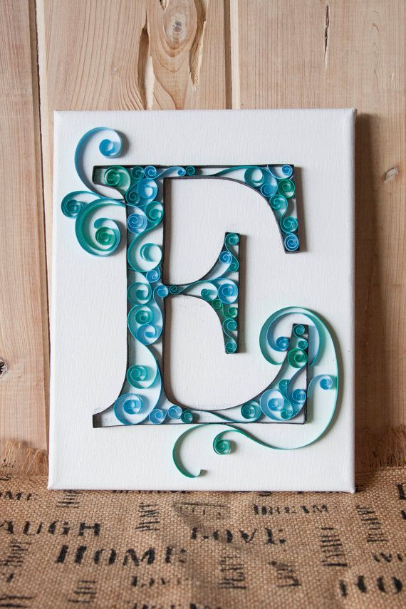 Made to order hand crafted paper quilled letters. Custom ordered letters made out of acid-free card stock on acid-free stretch canvas on a wooden frame.    Because this product is made to order, each one will be unique and a little bit different then what you see pictured.    These make great gifts for birthdays, baby showers, bridal showers, wedding gifts, graduation gifts, Mothers Day, Christmas, or sorority events.  Can also choose greek letters.    Color choices can be seen in the last…