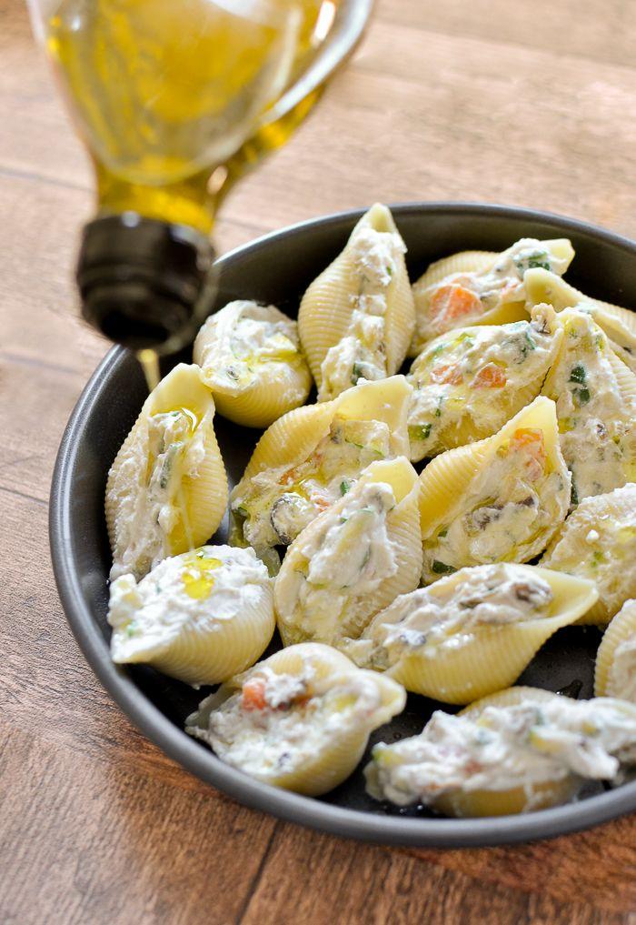 Conchiglioni Rigati al Forno – Ricotta and Shiitake Stuffed Shells