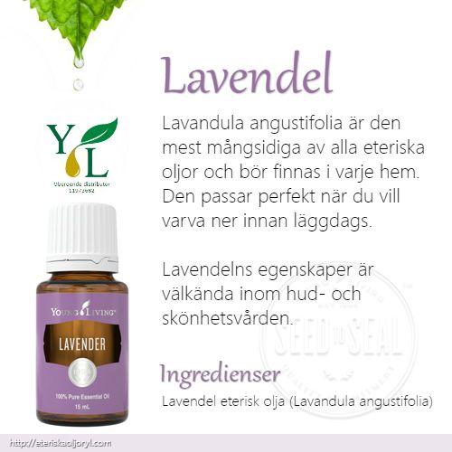 Lavendel (Lavandula angustifolia)är den mest mångsidiga av alla eteriska oljor och bör finnas i varje hem. Den passar perfekt när du vill varva ner innan läggdags.  Lavendelns egenskaper är välkända inom hud- och skönhetsvården.