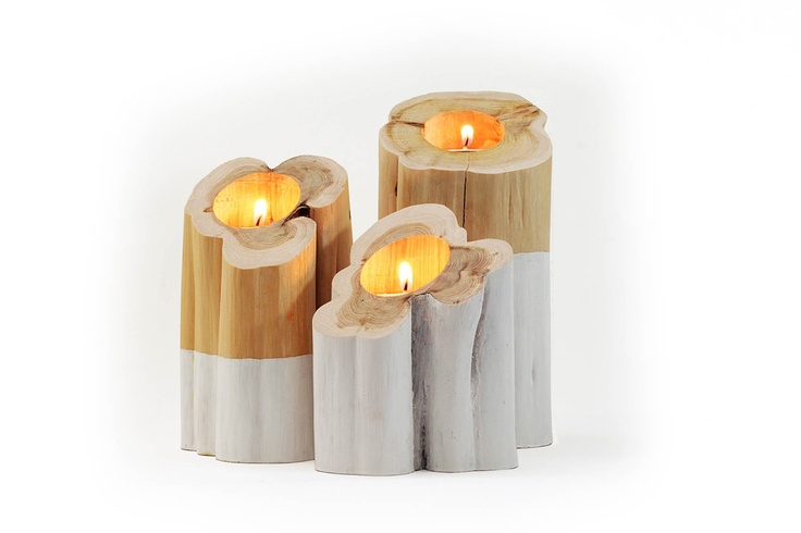 Tripp, trapp, trull candle holders, set of 3 - wood - at mydeco.com - Shop for your home from Europe's best boutiques. This product is delivered by Lotta Cole Design