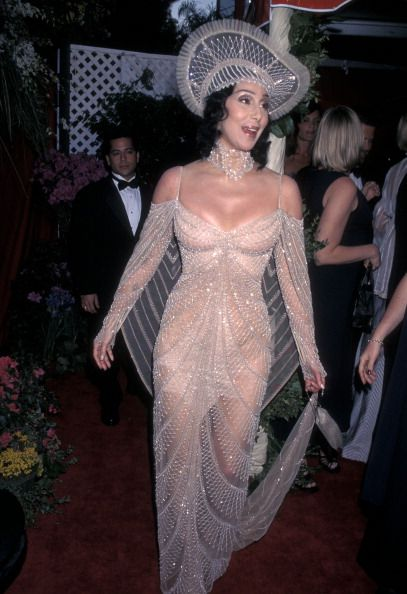 Cher and Bob Mackie Reunite: A Look Back at Their Sparkly Relationship: 1998 Academy Awards--tame by Cher/Mackie standards. We hear Cher has since repurposed that headpiece as a glitzy fruit bowl.