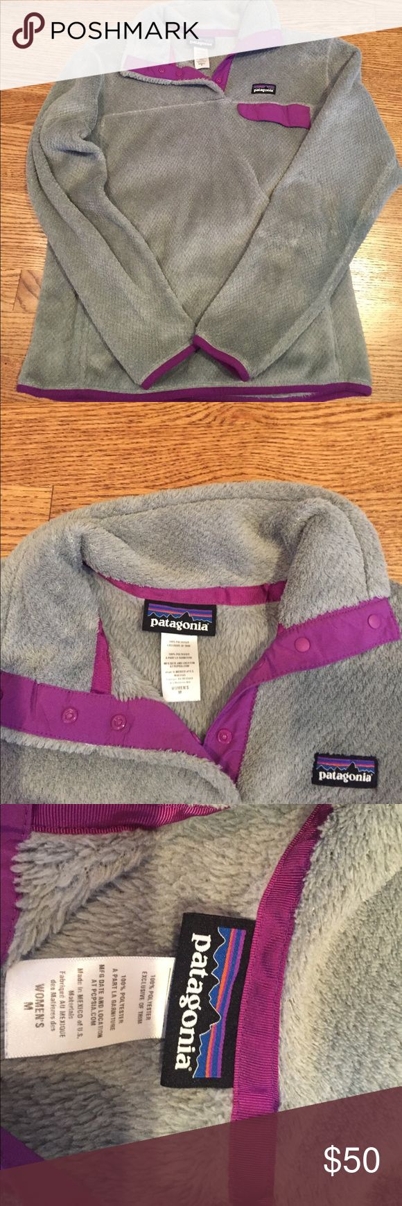 Women's Patagonia Pullover in Gray Barely worn women's Patagonia Snap T Pullover in gray with Purple Accents. So soft and comfortable and this one has hardly been worn! Patagonia Tops Sweatshirts & Hoodies