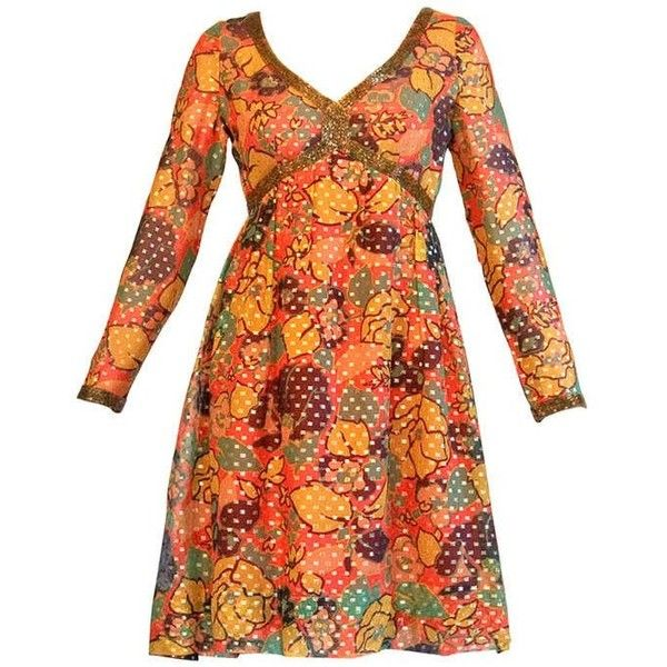 Preowned Mollie Parnis Vintage 1970s 70s Metallic Silk Beaded Floral... ($325) ❤ liked on Polyvore featuring dresses, orange, mini dress, short dresses, vintage beaded dress, vintage silk dress and vintage dresses
