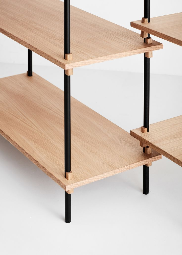 Moebe debuts a flexible shelving system that is held together by wedges